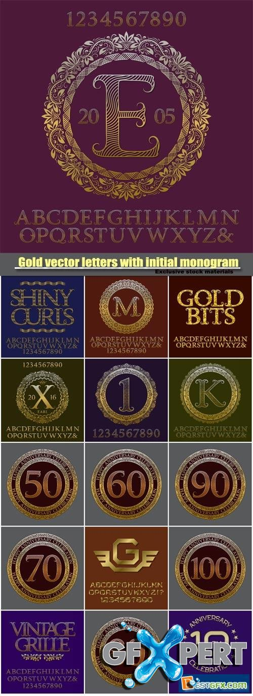 Gold vector letters with initial monogram, elegant logo design, english vintage alphabet