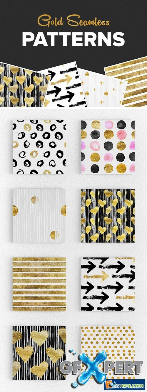 8 Seamless Gold Patterns