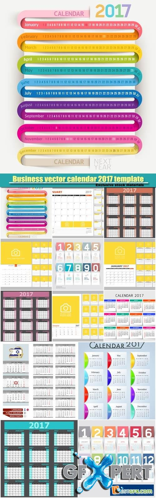 Corporate Calendar 2017 : Free business vector calendar template design download