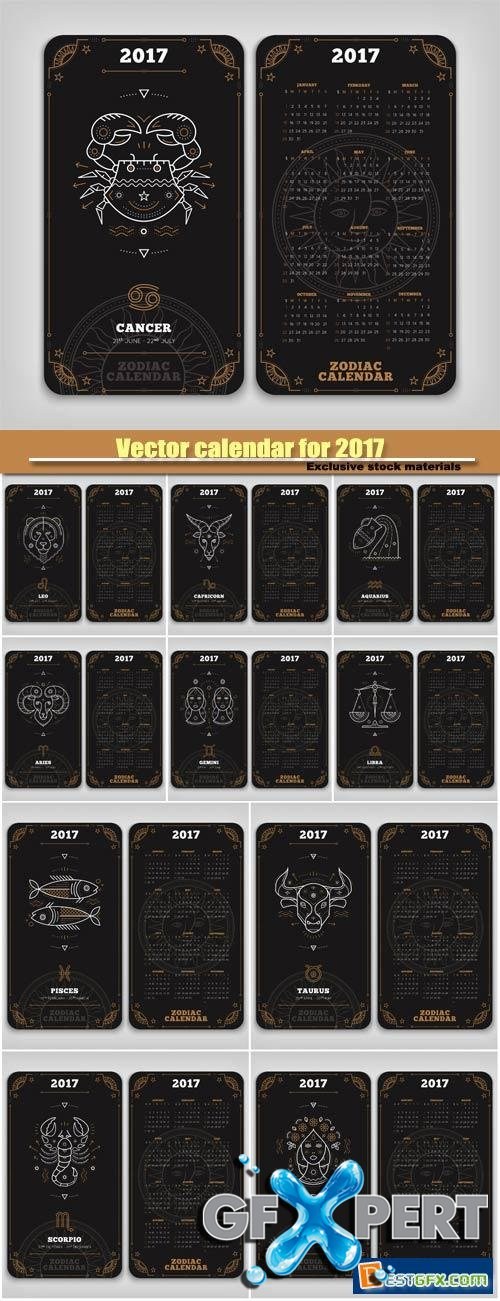 Vector calendar for 2017 with zodiac signs