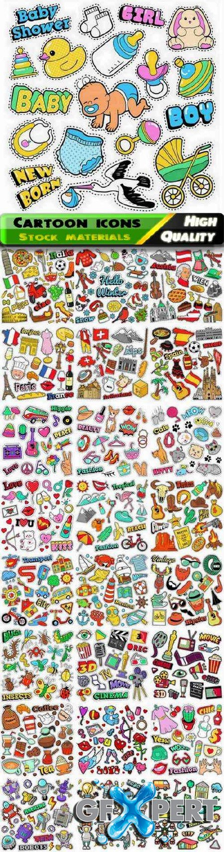 Set of different cartoon icons and objects illustration 25 Eps