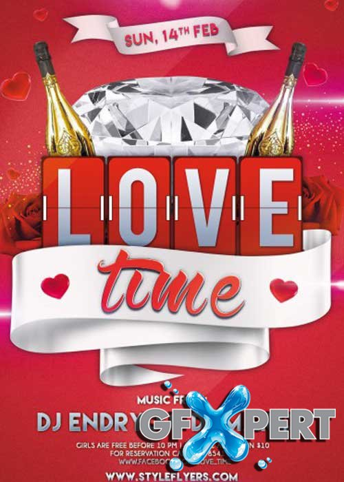 Love Time Party PSD V5 Flyer Template with Facebook Cover