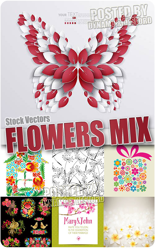 Flowers mix - Stock Vectors