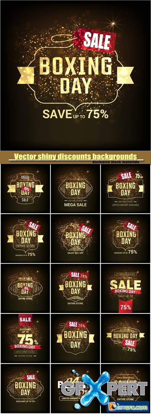 Boxing day, vector shiny discounts backgrounds