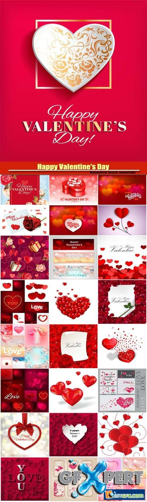 Happy Valentine's Day vector, hearts, romance, love #18