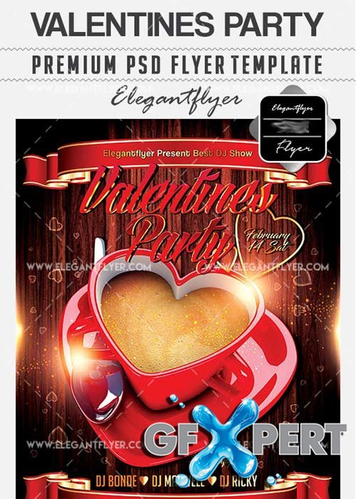 Valentines Party Flyer PSD V12 Template + Facebook Cover