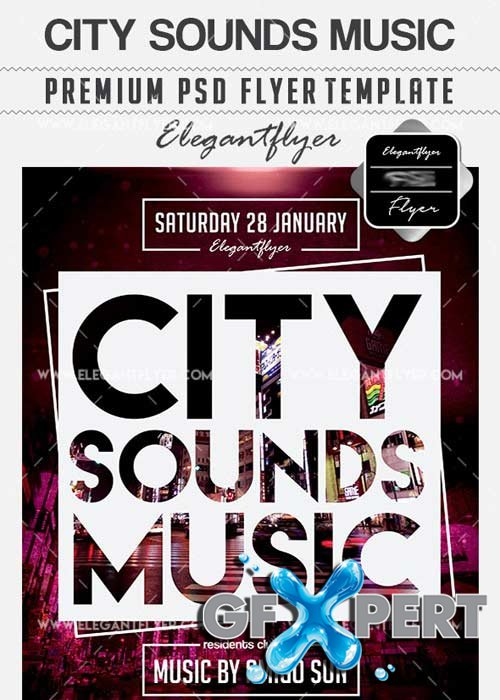 City Sounds Music Flyer PSD V6 Template + Facebook Cover