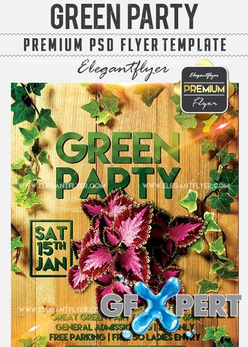 Green Party Flyer PSD V7 Template + Facebook Cover