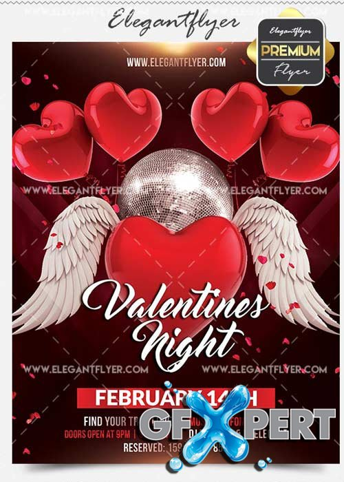 Valentines Night Flyer PSD V12 Template + Facebook Cover
