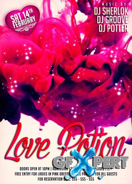 Love Potion PSD V1 Flyer Template with Facebook Cover