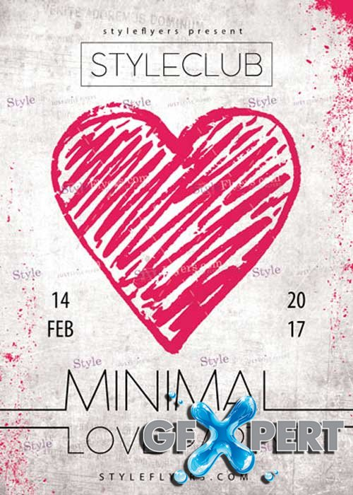 Minimal Love Party PSD V4 Flyer Template