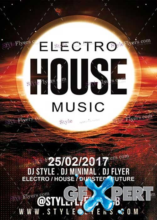 Electro House Music PSD V15 Flyer Template