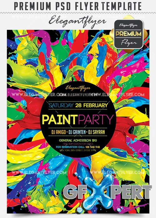 Paint Party Flyer PSD V03 Template + Facebook Cover