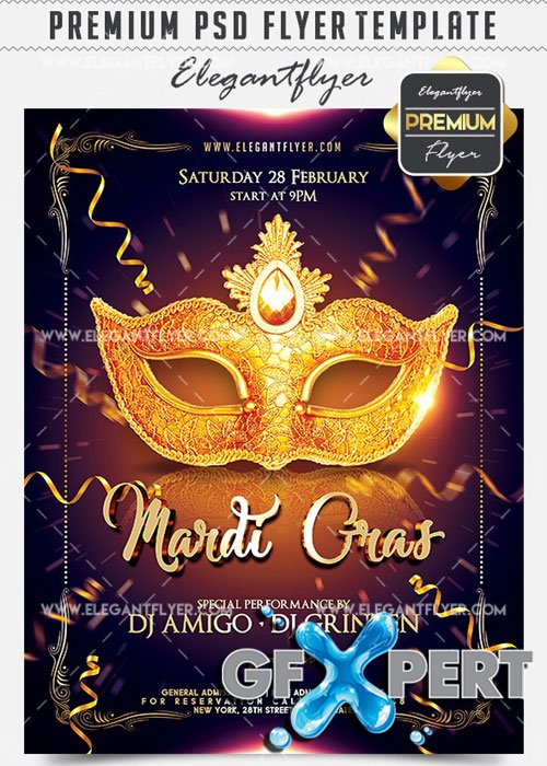 Mardi Gras 2017 Flyer PSD V8 Template + Facebook Cover