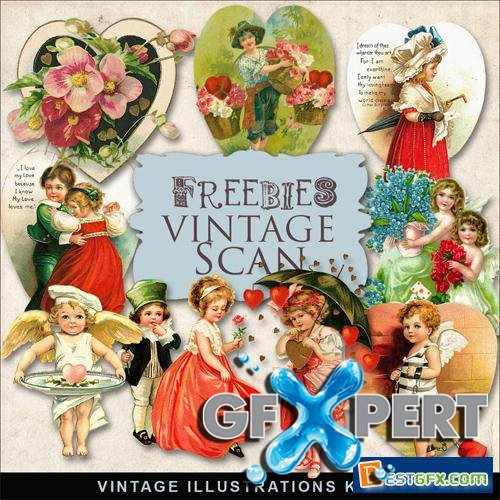 Vintage Scrap Kit - Valentine's Day Illustrations