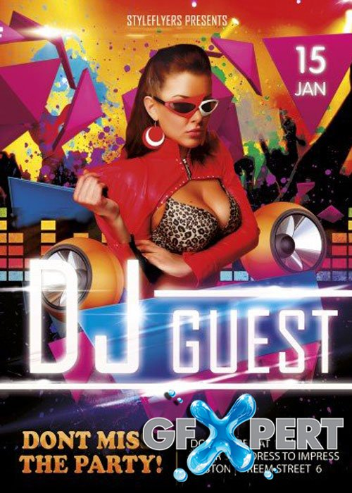DJ Guest PSD V18 Flyer Template with Facebook Cover