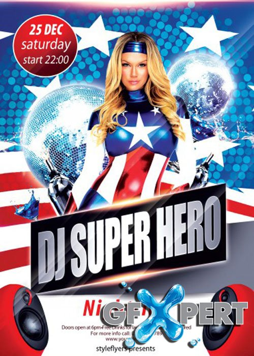 Dj Super Hero PSD V8 Flyer Template with Facebook Cover