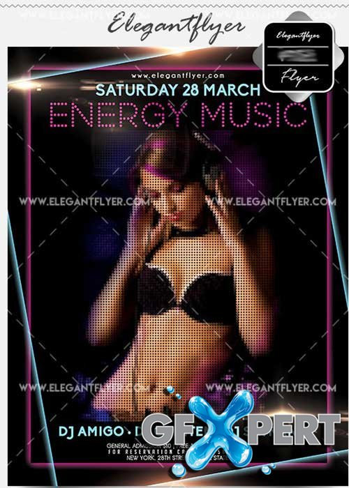 Energy Music V8 Flyer PSD Template + Facebook Cover