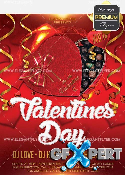 Valentines Day V34 Flyer PSD Template + Facebook Cover