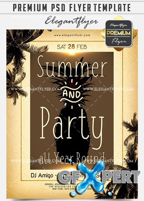 Summer & Party all Year Round Flyer PSD V13 Template + Facebook Cover