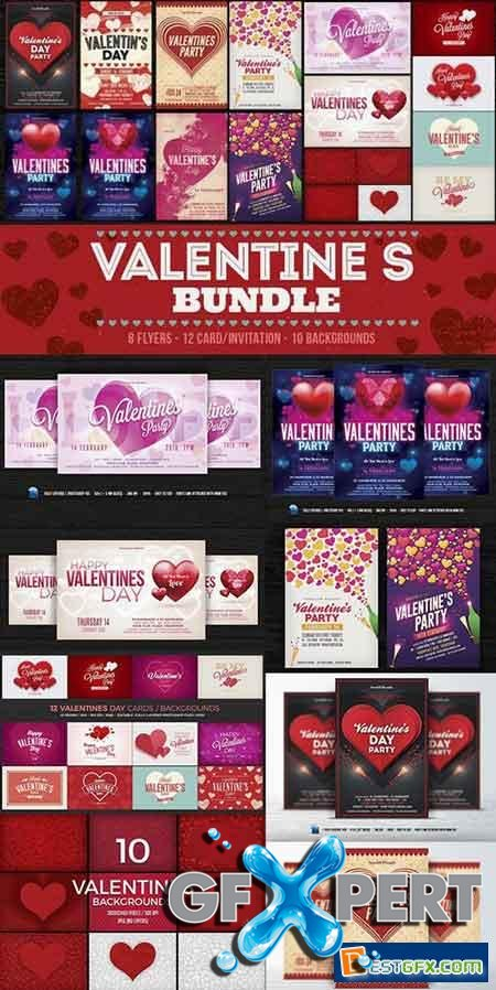 Creativemarket Valentines Day Flyer Cards BG Bundle 1158005