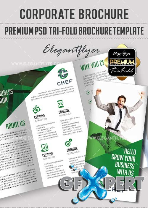 Corporate V15 Premium Tri-Fold PSD Brochure Template