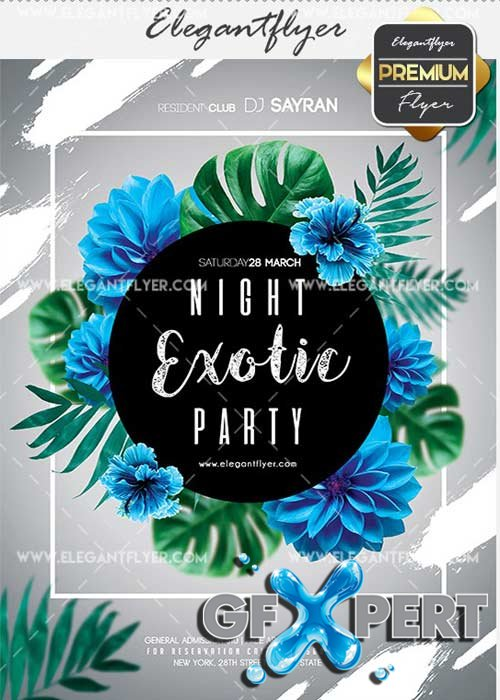 Night Exotic Party V8 Flyer PSD Template + Facebook Cover
