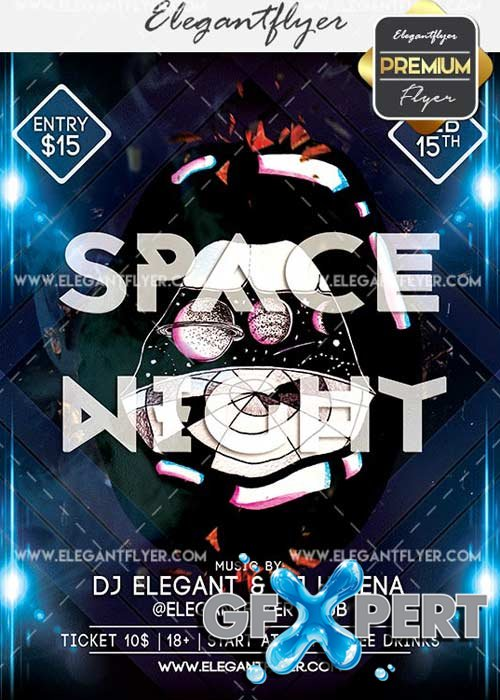 Space Night V9 Flyer PSD Template + Facebook Cover