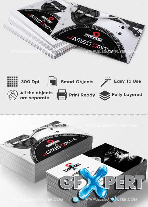 Dj V1 Premium Business card PSD Template