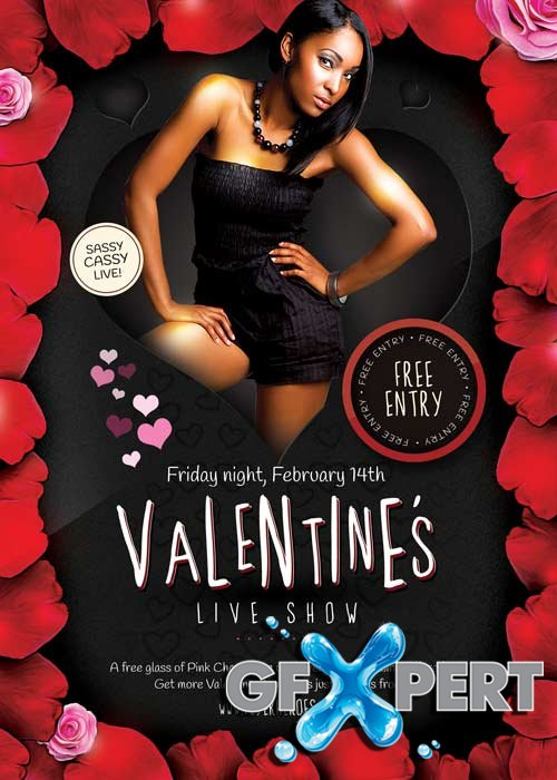 Valentines Live Show V2 Flyer PSD Template