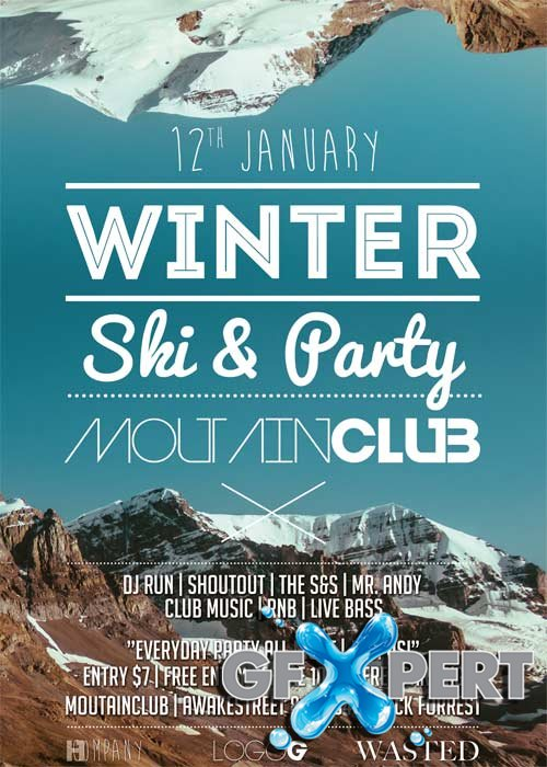 Winter Ski Party V17 Flyer Template