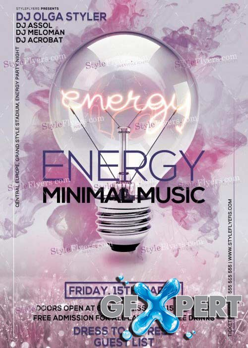 Energy Minimal Music PSD V9 Flyer Template