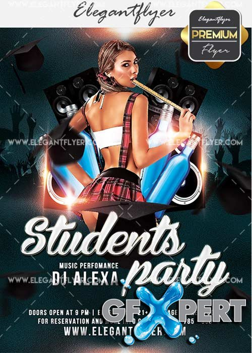 Students Party V9 Flyer PSD Template + Facebook Cover