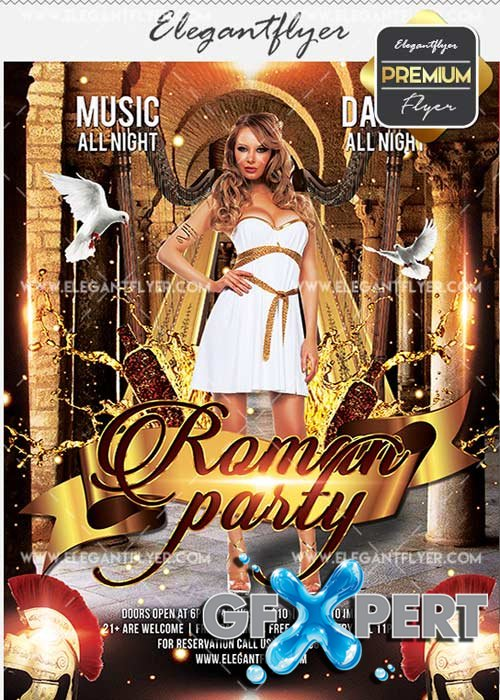 Roman Party V7 Flyer PSD Template + Facebook Cover