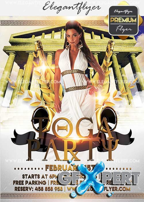 Toga Party V9 Flyer PSD Template + Facebook Cover