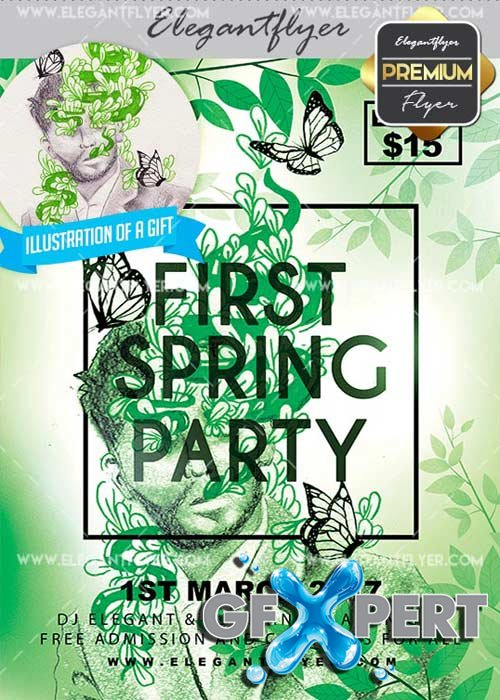 First Spring Party V9 Flyer PSD Template + Facebook Cover
