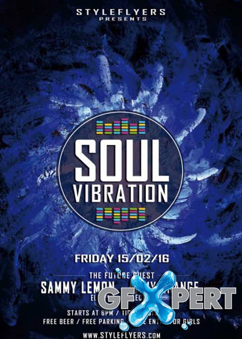 Soul Vibration Party V6 PSD Flyer Template with Facebook Cover