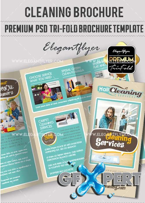 Cleaning Services V9 Premium Tri-Fold PSD Brochure Template