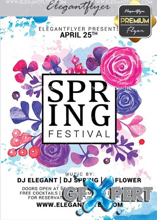 Spring Festival Flyer PSD V11 Template + Facebook Cover