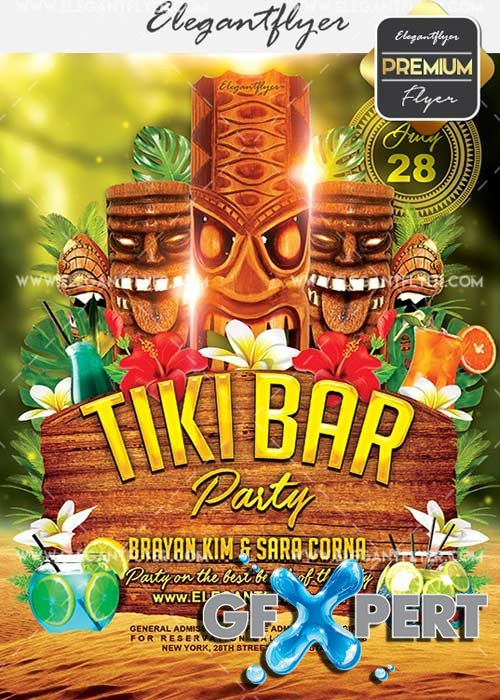 Tiki Bar V7 Flyer PSD Template + Facebook Cover