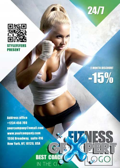 Fitness V22 PSD Flyer Template with Facebook Cover