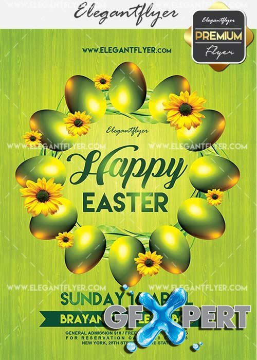 Happy Easter V22 Flyer PSD Template + Facebook Cover