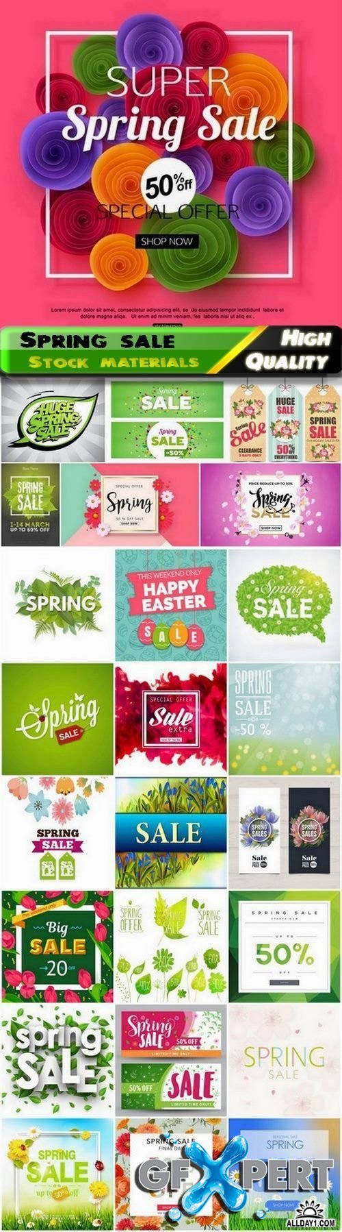 Business flyer poster and card for spring sale and discount 2 25 Eps