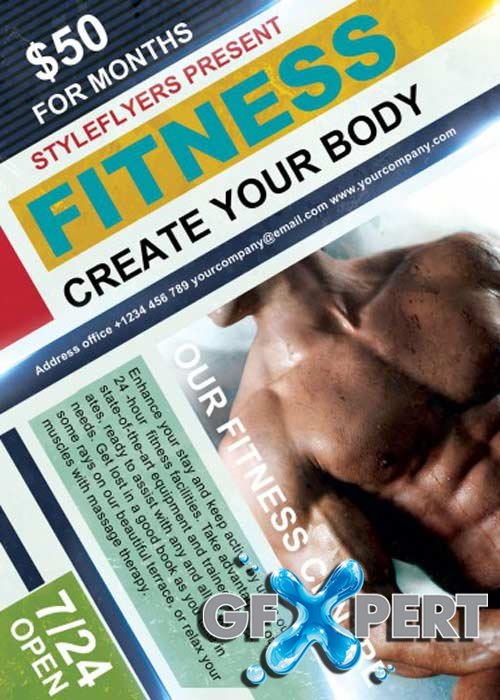 Fitness. Create Your Body V11 PSD Flyer Template with Facebook Cover