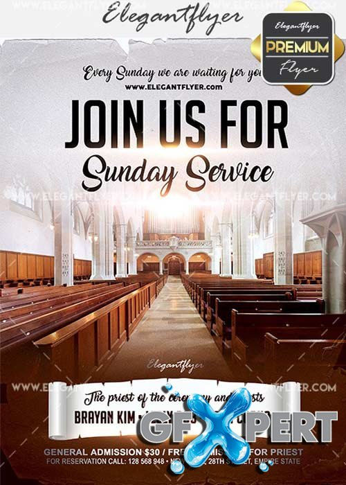 Join us for Sunday Service V1 Flyer PSD Template + Facebook Cover