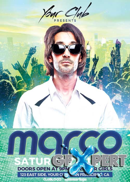 DJ Marco Club Party V11 Flyer Template