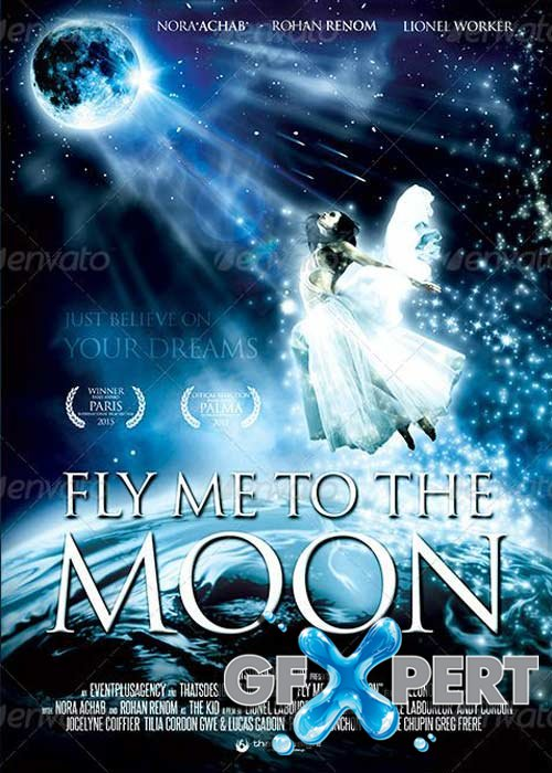 Fly me to the moon V1 Movie Poster Template