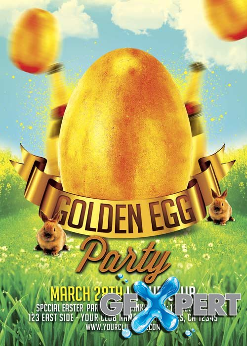 Golden Egg Easter Party V11 Flyer Template