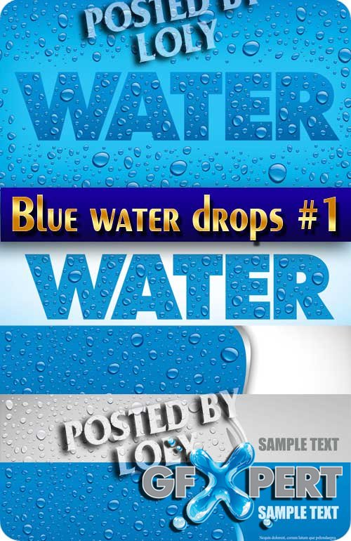 Blue water drops background #1 - Stock Vector