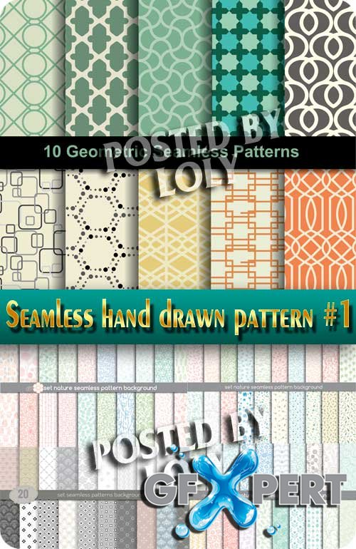 Seamless hand drawn pattern #1 - Stock Vector